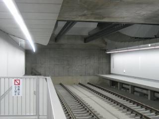 同じ場所の2008年7月6日の状況。終端部はコンクリートの壁でレールが途切れていた。