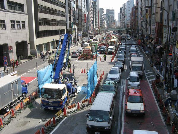 渋谷駅側の明治通りの状況。防音ハウスはすべて解体された。