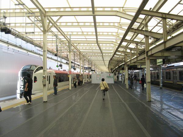 拡幅された横須賀線ホームと停車中のE259系「成田エクスプレス」