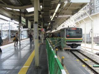 上り列車の停止位置が大幅に後退したホーム東京寄り