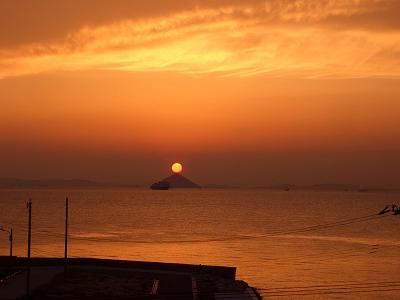 大姫島 秋分の夕日
