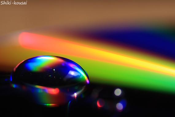 光の水玉写真【レインボーハート】