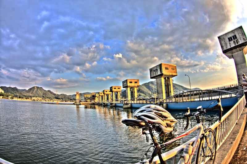 児島湖&バイク