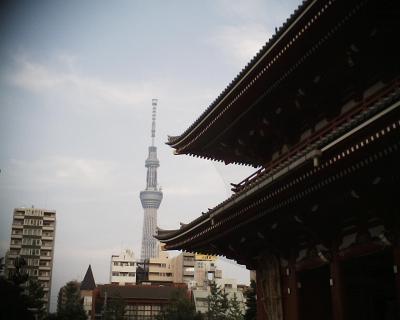 浅草寺宝蔵門と東京スカイツリー:R2