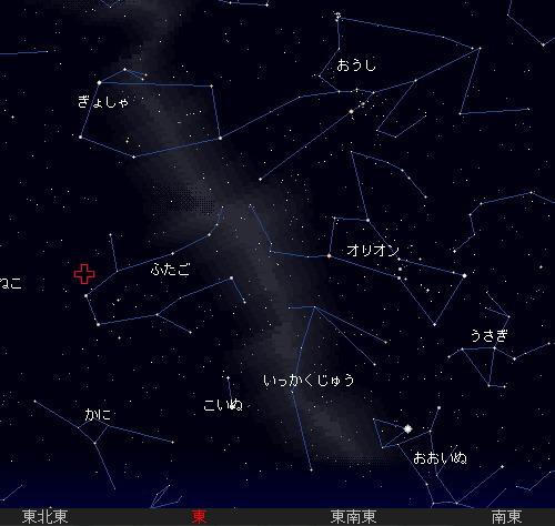 2009 12  14 ふたご座流星群星図21時
