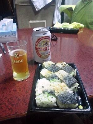 ビール&鯖鮨