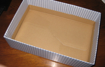 水色チェックの箱