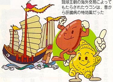 琉球王朝の海外交易によってもたらされたウコンは、昔から肝臓の特効薬だった