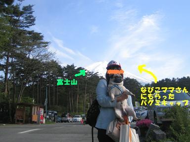 富士山をバックにチッチと記念写真