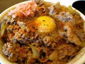 「すき屋の牛丼」、「メガ牛丼+玉子+お味噌汁」、2、