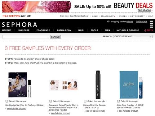 Sephora 無料サンプルページ
