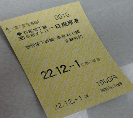 tky subway 0ne day ticket 20101201_R