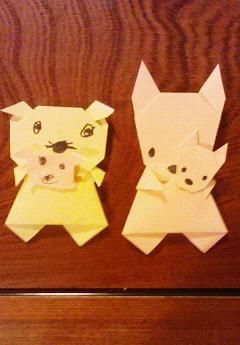 親子折り紙 (ポケットにおこちゃま)