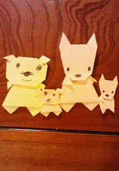 親子折り紙 (おこちゃま出ました)