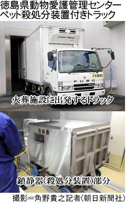 徳島市動物愛護管理センターのペット殺処分装置付きトラック