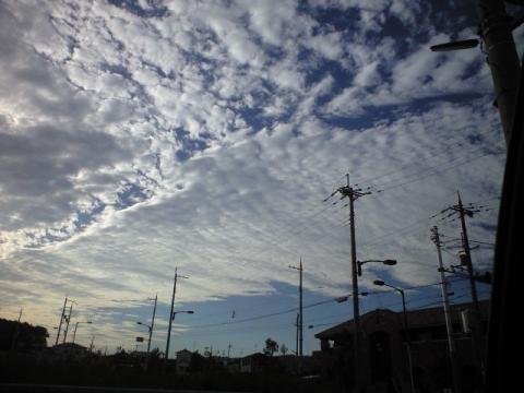 反対側の上空の雲
