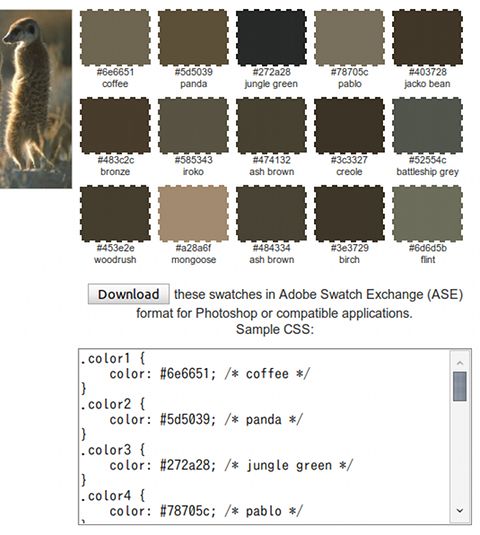 Color Palette Generator カラーパレット作成 カラーネーム