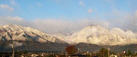 有明山と大天井岳