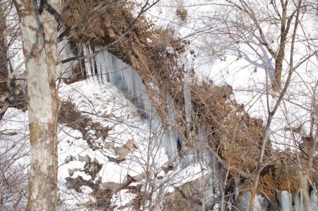 6洞門岩の氷壁