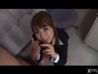 ロリ顔巨乳の痴女教師が男子生徒をじらしフェラ:北川瞳