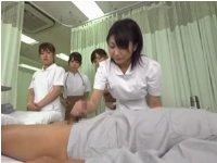 新人看護婦達に射精処置のお手本を見せる素朴な先輩看護婦のそつのない手コキ