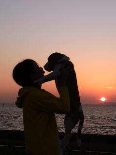 夕日とママ