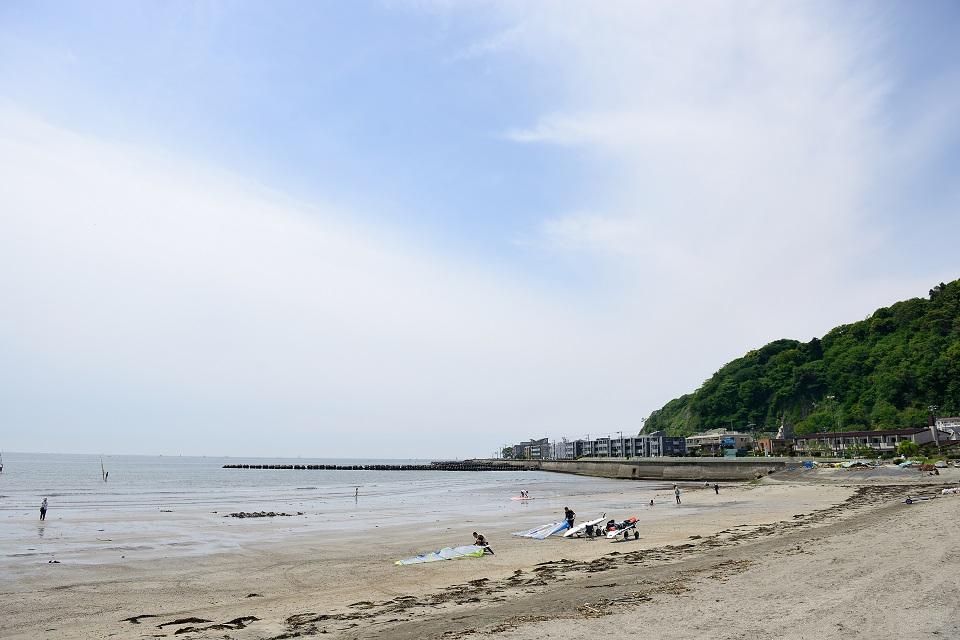 由比ヶ浜にて