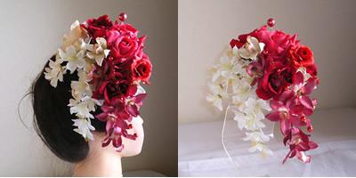 レッドローズと桜の成人式髪飾り
