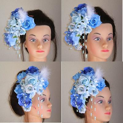 ブルーローズと紫陽花とファーの和装髪飾り