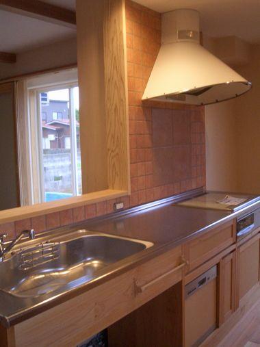 木のキッチン&家電収納食器棚