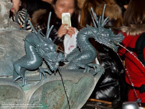 沙竭羅龍王像の周囲の龍