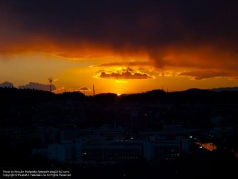 野島公園の展望台から見た夕日2