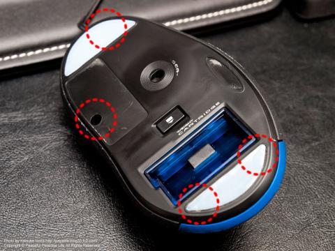 Loficool G5マウスのネジの位置