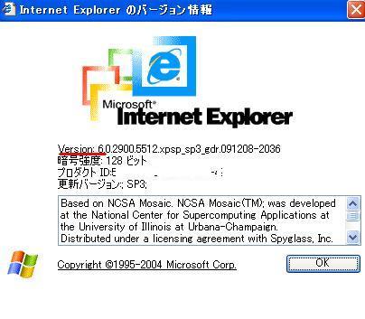 インターネットエクスプローラーバージョン確認方法03